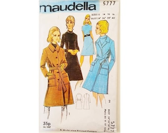 "UNCUT Vintage Maudella #5777 Winter Wool Belted Coat and High Neck Dress Sewing Pattern 4 Sizes Bust 34"" 36"" 38"" 40"" UK 12 14 16 18"