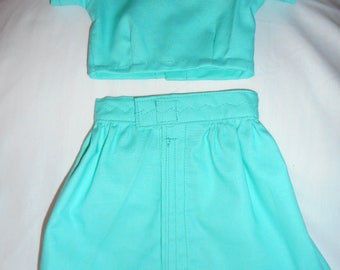 Doll Dresses and Skirt,Handmade Shirt and Skirt Doll Outfit,Ocean  Green Skirt Outfit