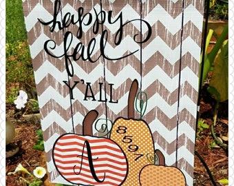 Fall Garden Flag - Yard House Flag  -Home Garden Fall Flag -Happy Fall Y'all Flag -Fall Pumpkin Flag