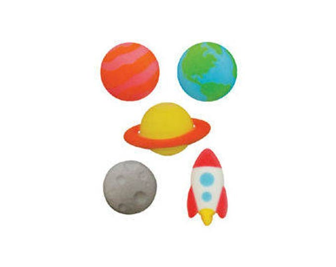 12 Outer Space Molded Sugar Cake Cupcake Topper Decorations Planets Galaxy Solar System
