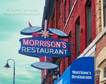 Morrison's Restaurant Kingston - Wall Decor - Fine Art Photography Print - Kingston, Canada, Red, Blue, Sign, Facade, Diner