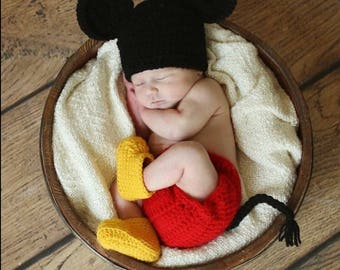 Baby Boy Mickey Mouse Set / Hat, Diaper Cover & Boots / Newborn Photo Prop / Mickey Diaper Cover / Sizes Newborn - 6 Months *MADE TO ORDER*