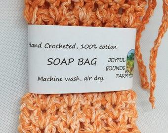 Hand Crocheted, 100% Cotton Soap Bag, Tangerine Orange Color
