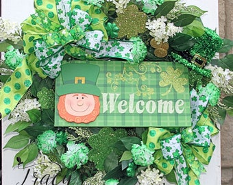 Deluxe St Patricks wreath, Leprechaun Wreath, St Patricks Day Wreath, St Patricks Day Decor, St Patricks Door Hanger, Shamrock Wreath, Irish
