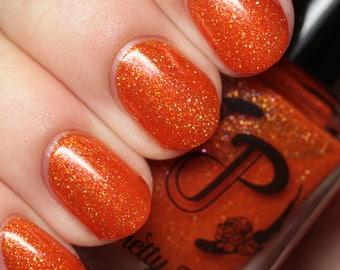Orange Jelly Nail Polish, Holographic Flakie Polish, Shimmer Polish, Indie Nail Lacquer, Custom Nail Color, Gift for Her, Vegan, FRIED EGG