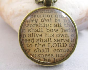 Bible Verse Necklace - Worship Scripture Necklace - Psalm 22:28-31 From an Antique Bible - One Of A Kind - Christian Necklace