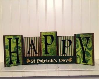St. Patricks day blocks, Happg St. Patricks day wood blocks, shamrocks