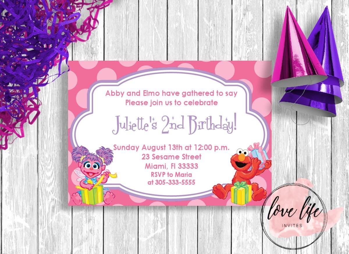 Abby Cadabby Birthday Invitation Sesame Street Birthday – Abby Cadabby Birthday Invitations