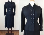 Vintage 1950s Suit / Womens fitted suit / Black Stretchy knit / Rhinestone buttons / Volup