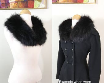 1940s Fur Stole / Black Fox / Black satin / Fur collar / Gorgeous