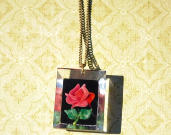 Beauty and the Beast Lucite Rose Pendant Necklace