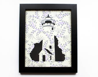 West Chop Cut Paper Lighthouse (Tisbury, Martha's Vineyard) - Floral