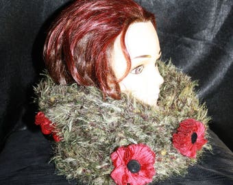 closed neck Super warm double layer dotted fabric flowers