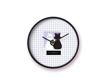 Black&White Cat Clock   MEOW Cat Series