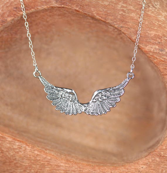 SIlver wings necklace - angel wings - double wing necklace