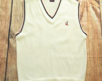 Vintage 90s PGA Tour Golf Sweater Vest Mens XL Deadstock Knit USA Made [H73A_0-10]