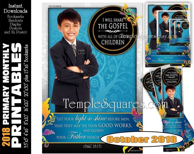 Printable Primary Monthly Posters October 2018 I am a Child of God Poster Bookmark and Handouts 5 sizes XL poster size down to handout size