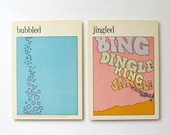 Bubbled and Jingled - Vintage MOMA Art Cards - Festive Wall Decor - Typography Art - Museum of Modern Art - Mid Century Modern Art Decor