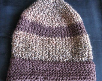 Slouchy hat brown winter hats for men toboggan handmade crochet hat warm hand knit