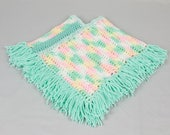 Baby poncho Fringed poncho Pale green / multi colored crocheted poncho
