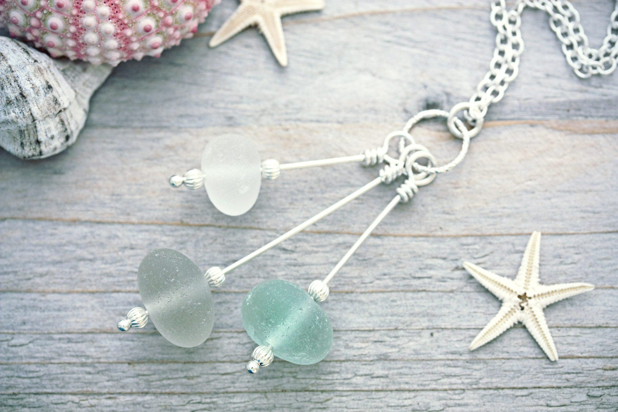 Sea glass necklace seaglass pendant genuine beach glass jewelry sea glass necklace seaglass pendant genuine beach glass jewelry ocean wave aqua trio mermaid cascade seaham found object art free shipping mozeypictures Image collections
