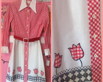 60s NOS red gingham collared day dress with matching belt by Howard Wolf