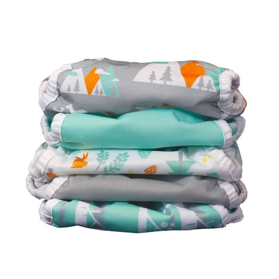 Thirsties Duo Wrap 5 Pack in Mountain Print Collection With Snaps