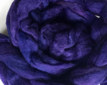 Hand dyed purple alpaca roving for spinning ,  handdyed alpaca roving,  4ounces