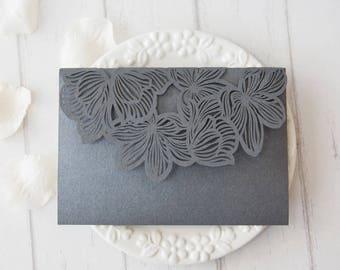 Pocket ONLY Tropical Flower Laser Cut Wedding Invitation  - no inserts - Laser Cut Grey Shimmer Beach Wedding Pockets Destination Wedding