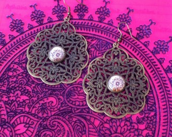 Oriental style cabochon earrings