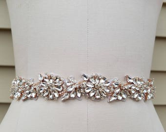 SALE - Wedding Belt, Bridal Belt, Sash Belt, Crystal Rhinestone Sash with Rose Gold Accents- Style B7235RG