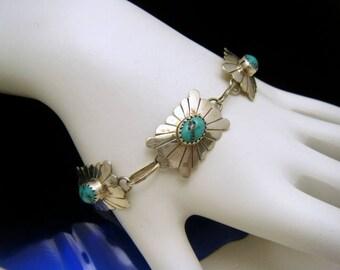 Dainty Navajo Sterling Silver Turquoise Bracelet Lowell Draper Signed