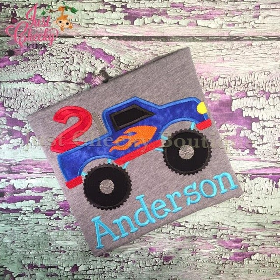 Monster Truck Birthday Shirt - Hot Wheels Birthday - Monster Truck Party - Truck Birthday Party - Checkered Flags