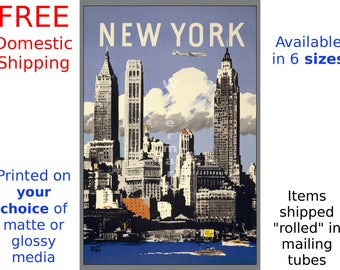 New York #5 - Vintage Air Travel Poster (187026570)