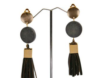 Tassel earrings, Leather earrings, Khaki earrings, Statement earrings, Clip on earrings, Fringe earrings, Khaki earrings, holiday gift, UDL