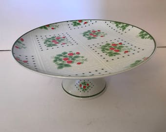 Vintage Enesco Swiss Strawberry Cake Plate on Pedestal- Red and White- - Mint Condition- 1970's
