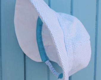 Hat Cap cotton checkered blue and white - head circumference between 42 and 45 cm