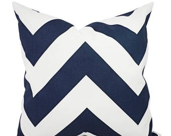 15% OFF SALE Two Navy Blue Pillow Covers - Two Navy Chevron Throw Pillow Covers - Chevron Pillow - Navy Accent Pillows - Decorative Pillow