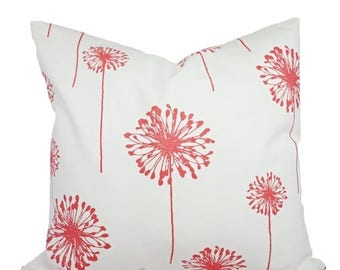15% OFF SALE Coral Throw Pillows - Coral Dandelion Decorative Throw Pillows - Couch Pillows - Accent Pillow - Coral Pillows 16x16 18x18 20x2