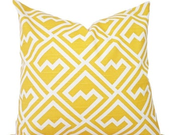 15% OFF SALE Yellow Pillow Covers - Two Decorative Pillow Covers - Yellow and White Pillow - Yellow Geometric Pillow Cover - Yellow Pillows