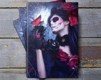 Gothic notebook, art journal, Gothic art, sketchbook, journal, diary, note pad, day of the dead, travel journal, daily planner, sugar skull