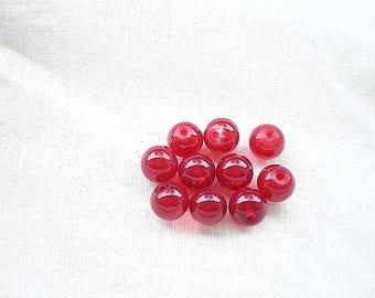 10 pearls 8mm red jade