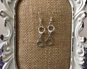 Antique Silver Handcuff Earrings