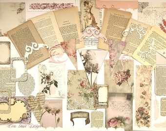 Floral Themed French Journalling Kit - 50 Vintage French Book Pages, Shabby Chic Inspiration Kit ,  Scrapbook Kit  Scrapbooking  Journalling