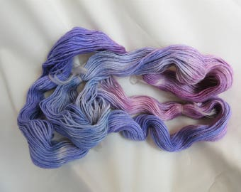 Hand Dyed/Painted - Blue/Rasberry/Violet - 3 Ply Fingering Weight Alpaca Yarn - Grade 2- Superfine - 2.0 oz. - 200 Yds - 19-22 WPI