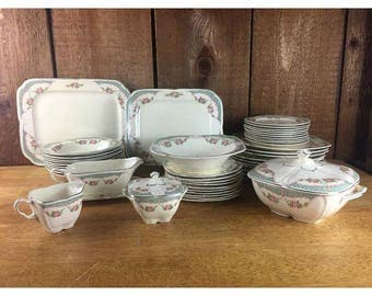 Vintage 1930s Edwin Knowles Green & Pink Rose China - 50 piece set