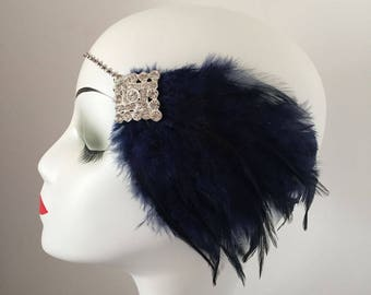 Navy Blue Feather Headband Gatsby Party Bridal Costume Evening Dress Headpiece