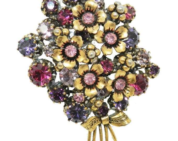 Austria Brilliantly Colored Red Pink and Purple Brooch Made in Austria Stunning Brooch Pin Austria Signed Multi Color Floral Brooch Gift