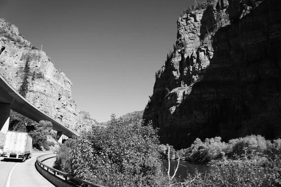 Highway Cliffs Black and White Fine Art Photography Print