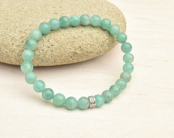 Amazonite bracelet, Silver bracelet, Gemstone bracelet, Amazonite jewelry, Dainty bracelet, Aqua blue bracelet, Gift for her